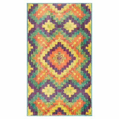 Isabelle Orange/Green Area Rug Rug Size: 22 x 39
