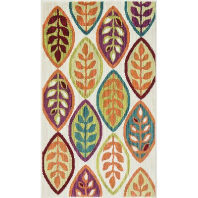 Isabelle Ivory/Orange Area Rug Rug Size: 17 x 26