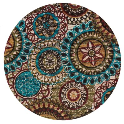 Aria Green/Blue Area Rug Rug Size: Round 3
