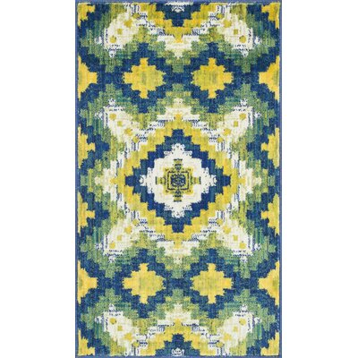 Isabelle Green/Yellow Area Rug Rug Size: 17 x 26