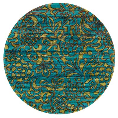 Aria Lime/Teal Area Rug Rug Size: Round 3