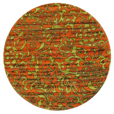 Aria Orange/Lime Area Rug Rug Size: Round 3