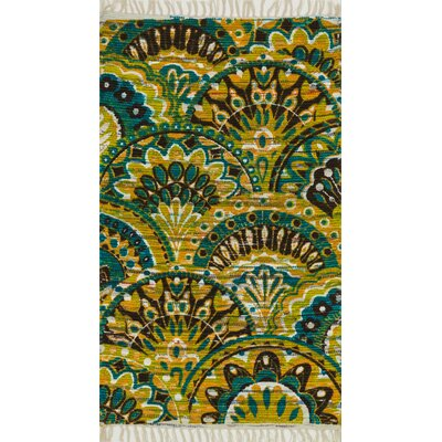 Aria Peacock/Yellow Area Rug Rug Size: 36 x 56