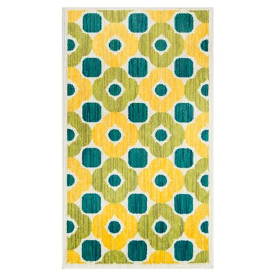 Nanava Green/Yellow Area Rug Rug Size: Round 3