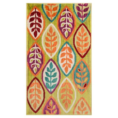 Isabelle Green/Orange Area Rug Rug Size: 17 x 26
