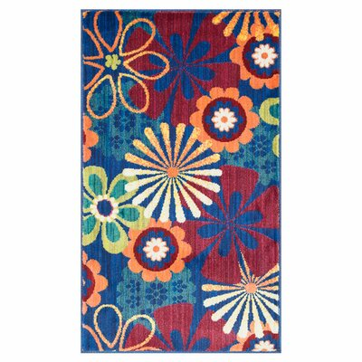 Nanava Blue/Red Area Rug Rug Size: Rectangle 22 x 39