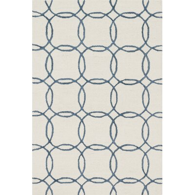 Kirkbride Ivory/Blue Area Rug Rug Size: Rectangle 76 x 96