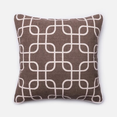 Cotton Throw Pillow Color: Brown/Ivory