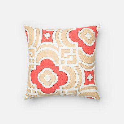 Cotton Throw Pillow Color: Sand/Red