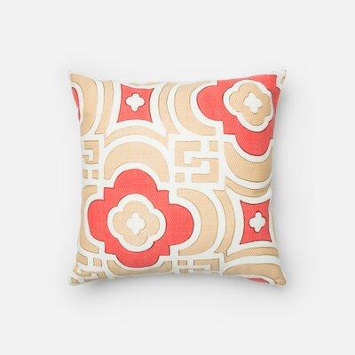 Nolen Cotton Throw Pillow Color: Sand/Red