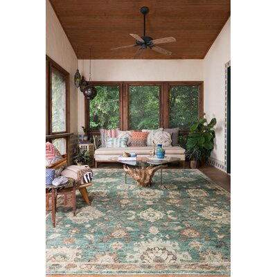 Empress Hand-Knotted Aqua/Beige Area Rug Rug Size: Rectangle 56 x 86