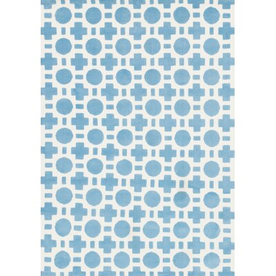 Piper Blue/White Area Rug Rug Size: 5 x 7