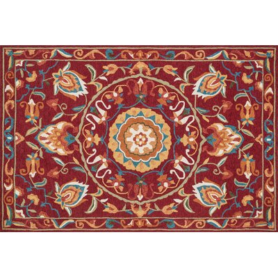 Francesca Hand-Woven Red/Sage Area Rug Rug Size: 36 x 56