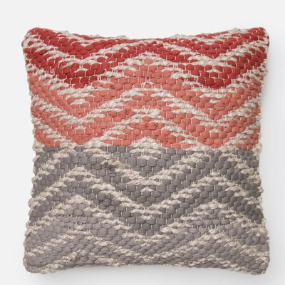 Cotton Throw Pillow Color: Coral/Gray