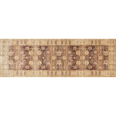 Anastasia Red/Gold Area Rug Rug Size: Runner 27 x 12
