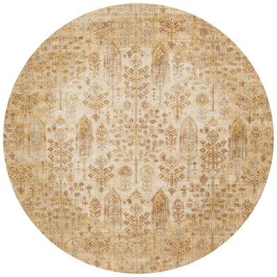 Zehner Ivory/Gold Area Rug Rug Size: Round 710