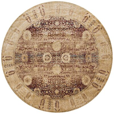 Zehner Red/Gold Area Rug Rug Size: Round 53