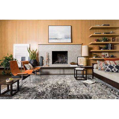 Aparicio Black & Ivory Area Rug Rug Size: Rectangle 53 x 77