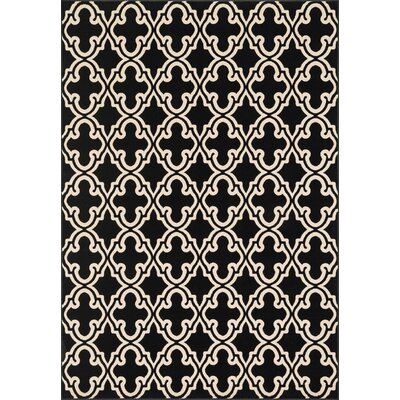 Goodwin Black/White Area Rug Rug Size: 53 x 77