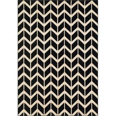 Goodwin Black/Ivory Area Rug Rug Size: 23 x 39