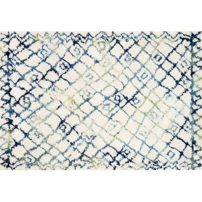 Benson Hand-Tufted Ivory/Ocean Area Rug Rug Size: Rectangle 36 x 56