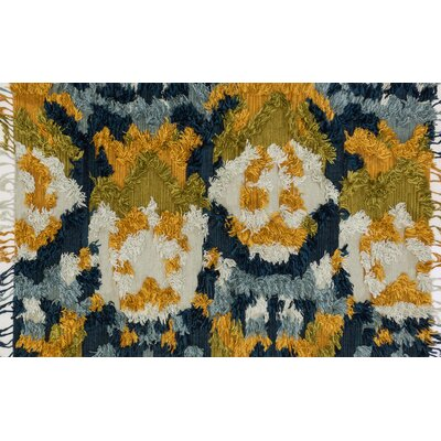 Benson Hand-Woven Marine/Gold Area Rug Rug Size: Rectangle 79 x 99