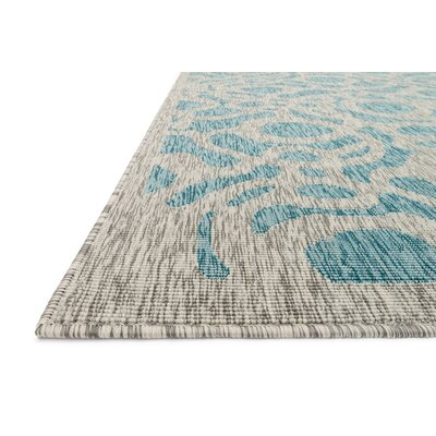 Newport Aqua/Gray Indoor/Outdoor Area Rug Rug Size: 53 x 77