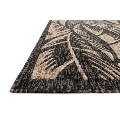 Newport Charcoal/Sand Indoor/Outdoor Area Rug Rug Size: 53 x 77