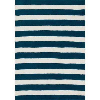 Lola Shag Navy/White Area Rug Rug Size: 5 x 7