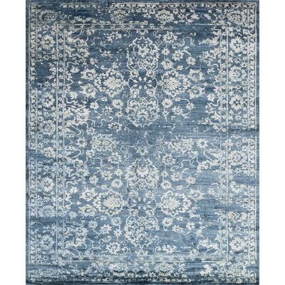 Leffel Hand-Knotted Denim Area Rug
