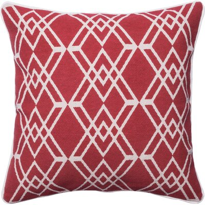 Cotton Throw Pillow Color: Red/Ivory