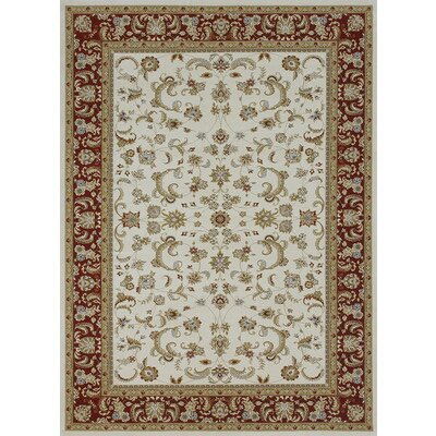 Welbourne Ivory/Red Area Rug Rug Size: Round 77