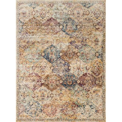 Anastasia Beige/Blue Area Rug Rug Size: Rectangle 53 x 78