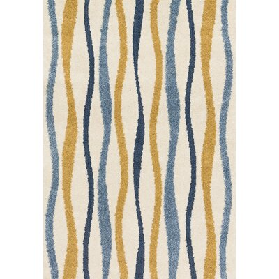Enchant Blue/Beige/Orange Area Rug Rug Size: Rectangle 77 x 106