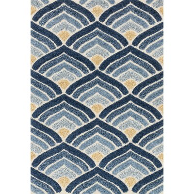 Enchant Blue/Ivory Area Rug Rug Size: Rectangle 77 x 106