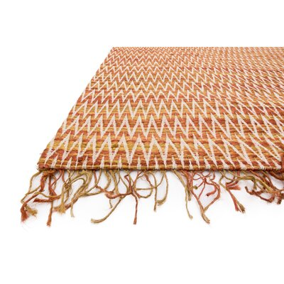 Faraci Hand-Woven Orange Area Rug Rug Size: Rectangle 93 x 13