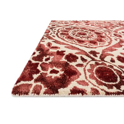Viola Hand-Hooked Wine Area Rug Rug Size: Rectangle 5 x 76