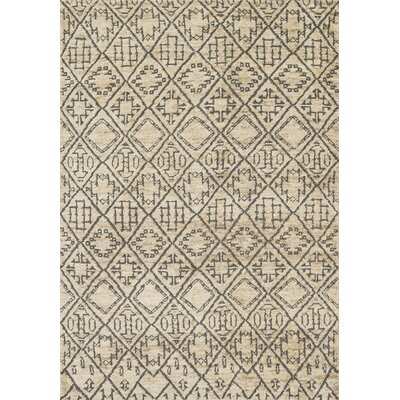 Palumbo Hand-Knotted Beige/Gray Area Rug Rug Size: Rectangle 79 x 99