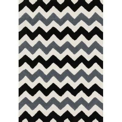 Broder Handmade Black/Charcoal Area Rug Rug Size: Rectangle 5 x 7