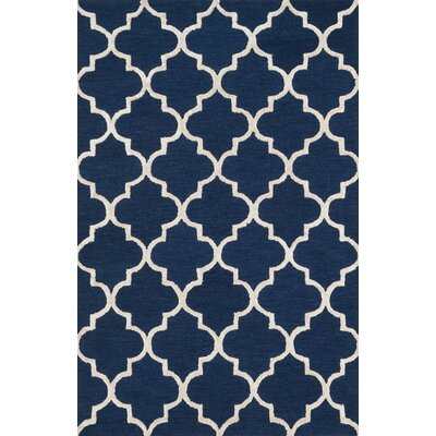 Kirkbride Navy/Silver Area Rug Rug Size: Rectangle 23 x 39