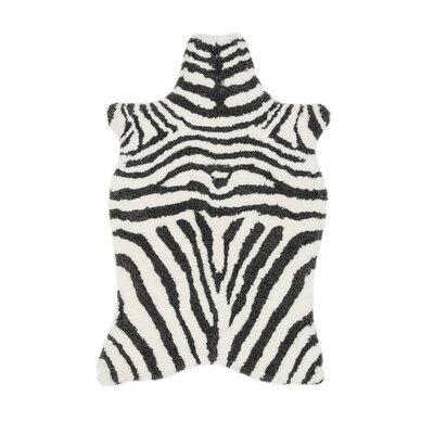 Zulu Ivory/Charcoal Area Rug Rug Size: 36 x 56