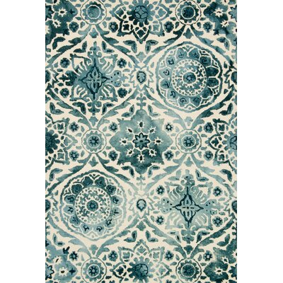 Viola Hand-Hooked Indigo Area Rug Rug Size: Rectangle 36 x 56