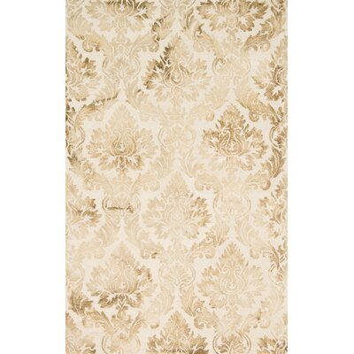 Kirsch Hand-Hooked Beige Area Rug Rug Size: Rectangle 5 x 76