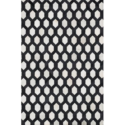 Promenade Ivory & Black Area Rug Rug Size: Rectangle 5 x 76