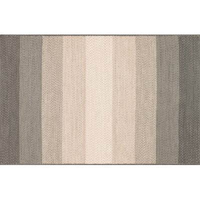 Garrett Hand-Braided Neutral Indoor/Outdoor Area Rug Rug Size: 36 x 56