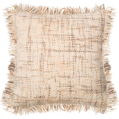 Wool Throw Pillow Color: Beige