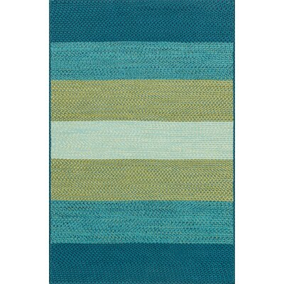 Garrett Hand-Braided Blue/Green Indoor/Outdoor Area Rug Rug Size: 36 x 56