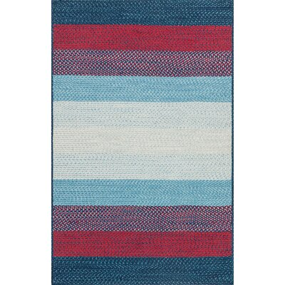 Garrett Hand-Braided Blue/Red Indoor/Outdoor Area Rug Rug Size: Rectangle 5 x 76