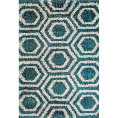 Barcelona Shag Blue/Light Gray Area Rug Rug Size: 39 x 56