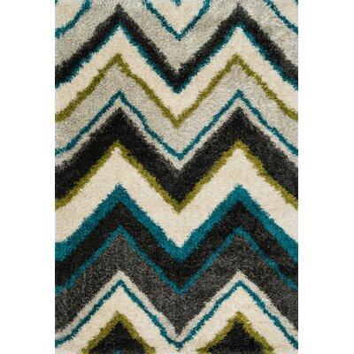 Barcelona Shag Ivory/Black Area Rug Rug Size: Rectangle 39 x 56